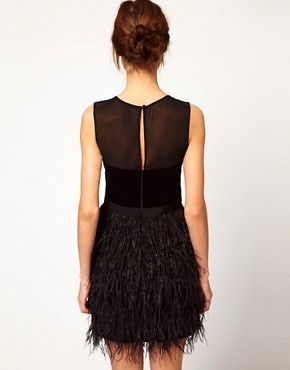 Image 2 ofWarehouse Feather Hem Dress