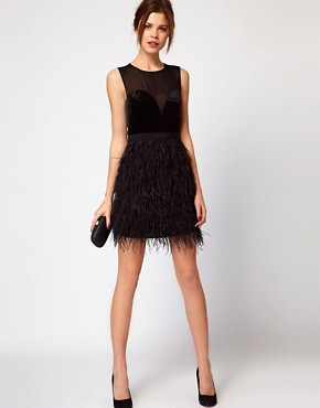 Image 4 ofWarehouse Feather Hem Dress