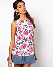 Motel Panda Dress In Flower Print with Denim Frill