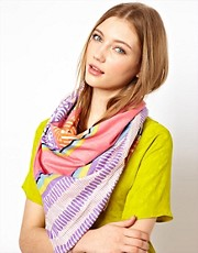 Pieces Mija Festival Print Cotton Scarf
