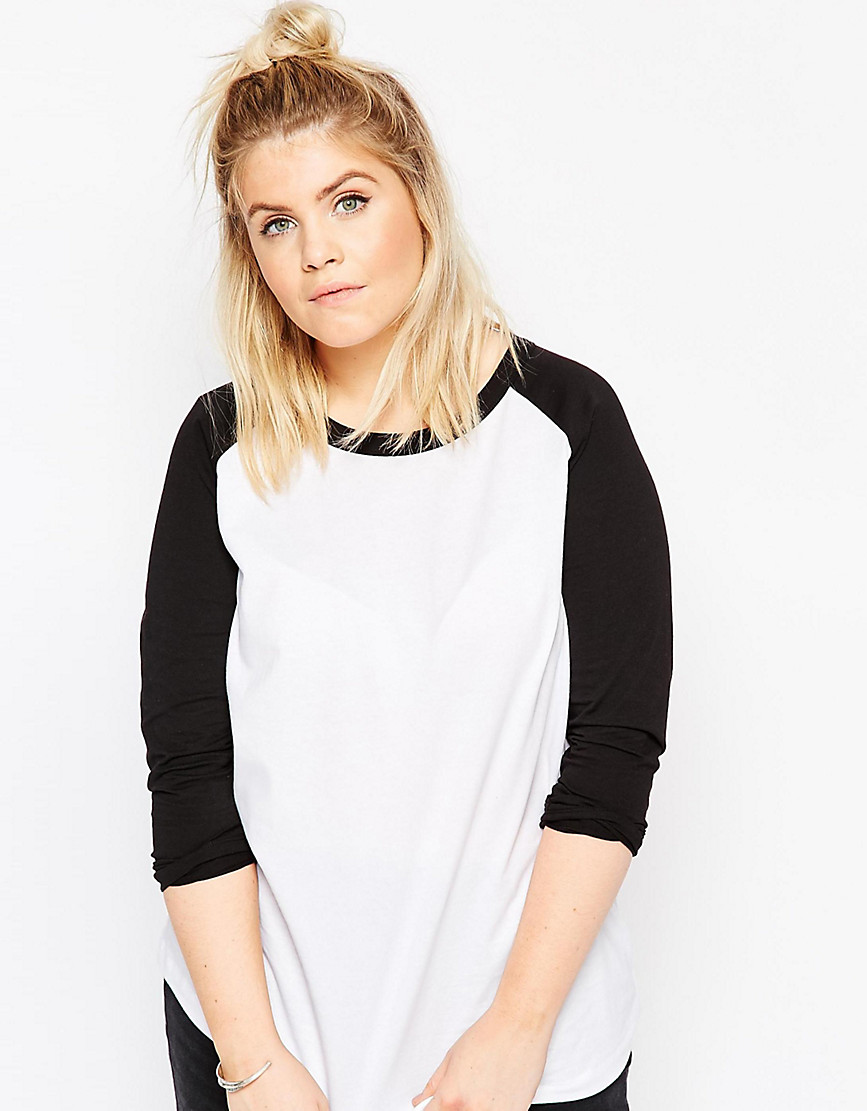 ASOS CURVE Top With Raglan Sleeve - White