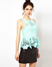 Ginger Fizz Top With Cut Work Peplum