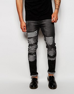 Cheap Monday Jeans Tight Skinny Fit Innocence Black Extreme Distress Repair