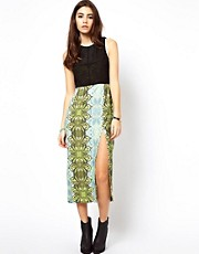 ASOS Africa Printed Midi Dress with Sheer Panel