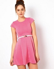 Club L Skater Dress With Bow Belt