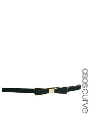 Image 1 ofASOS CURVE Bow Waist Belt With Metal Plate Detail
