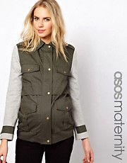 ASOS Maternity Parka With Contrast Sleeves