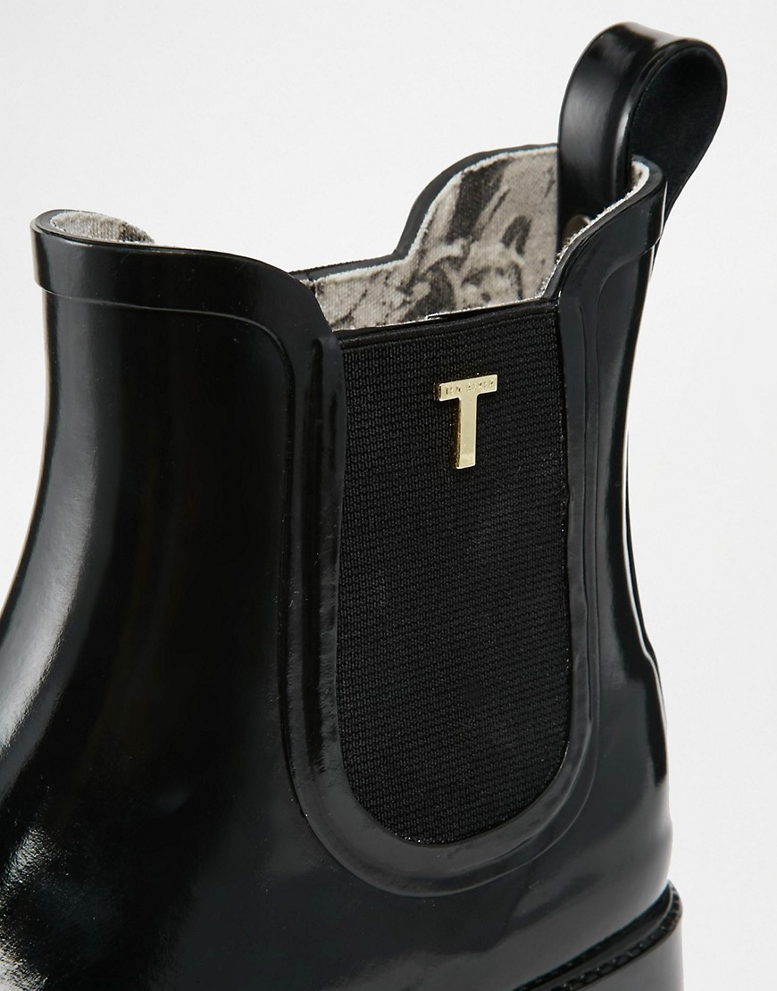 Image 2 ofTed Baker Lyran Black Rubber Ankle Boots