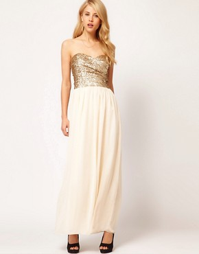 Image 1 ofTFNC Dress Sequin Bandeau Chiffon Skirt Maxi
