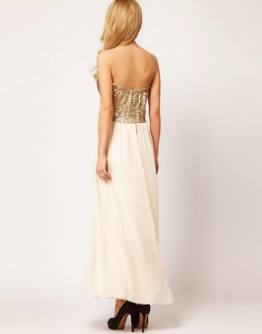 Image 2 ofTFNC Dress Sequin Bandeau Chiffon Skirt Maxi