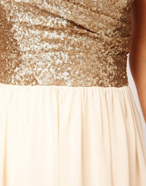 Image 3 ofTFNC Dress Sequin Bandeau Chiffon Skirt Maxi
