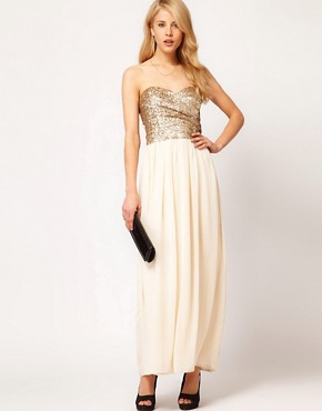 Image 4 ofTFNC Dress Sequin Bandeau Chiffon Skirt Maxi