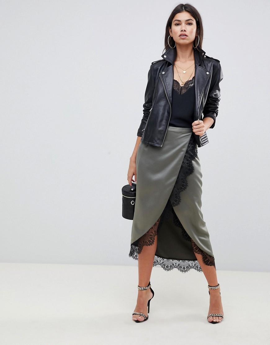 Атласная юбка миди с запахом и кружевной отделкой ASOS DESIGN