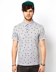 New Look Polo Shirt With Bird Print