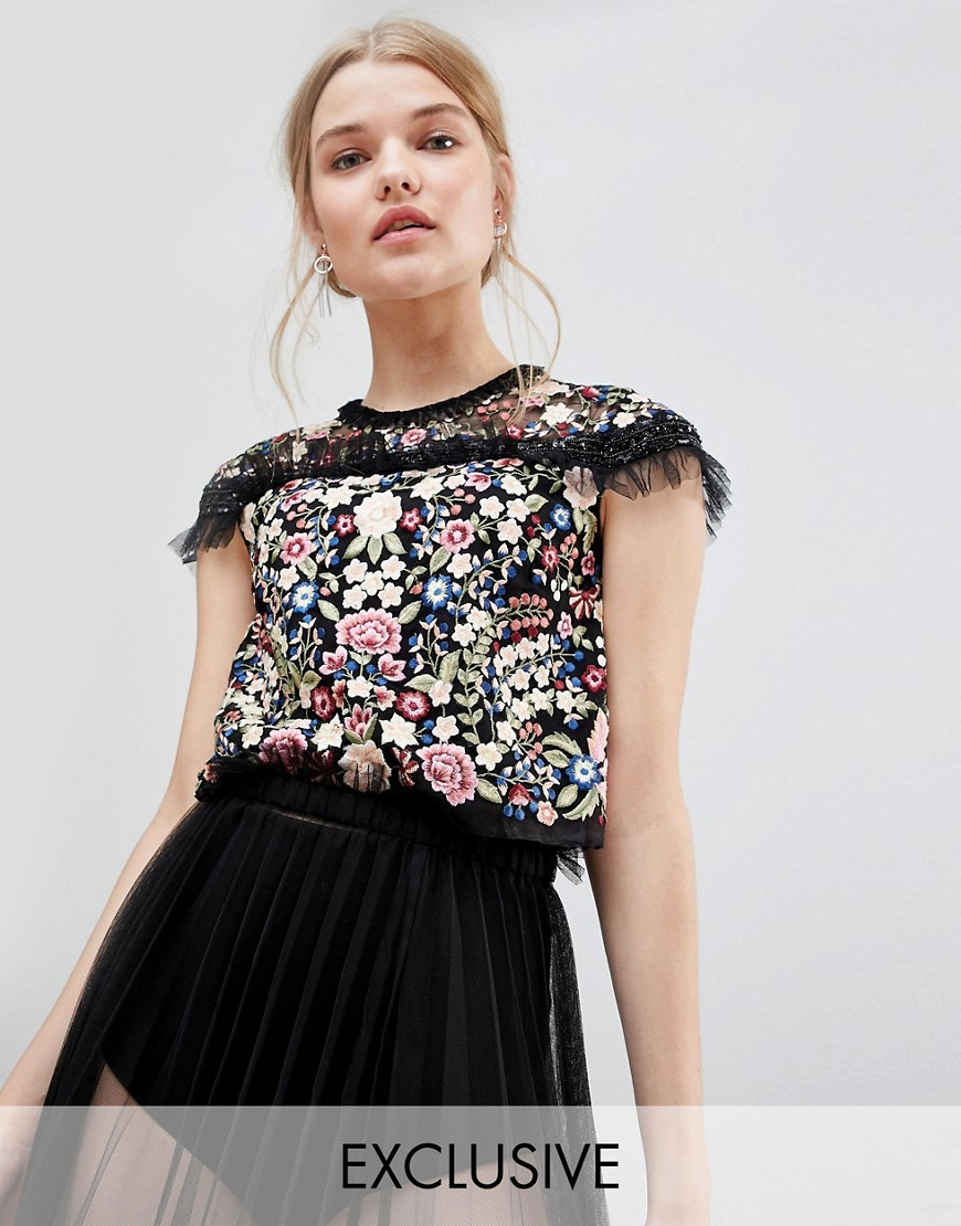 Needle & Thread Embroidered Top with Frill Detail - Black