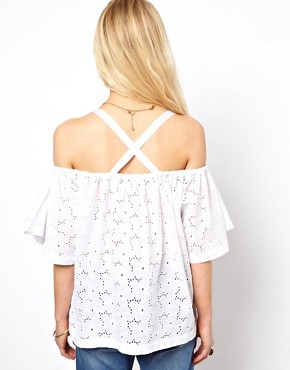 Image 2 ofASOS Top With Off Shoulder And Allover Broderie