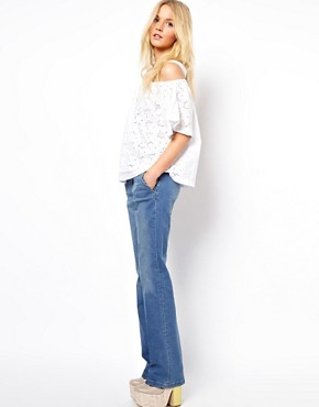 Image 4 ofASOS Top With Off Shoulder And Allover Broderie