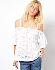 ASOS Top With Off Shoulder And Allover Broderie