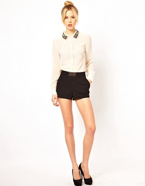 Image 1 ofASOS Tailored Shorts with Gold Belt