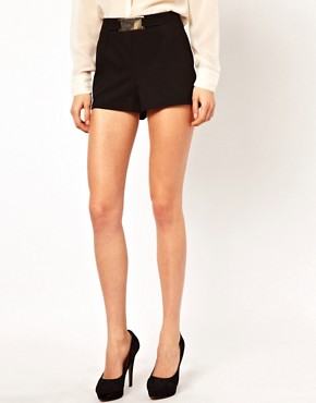 Image 4 ofASOS Tailored Shorts with Gold Belt
