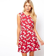 Oasis Fit &amp; Flare Dress In Butterfly Print