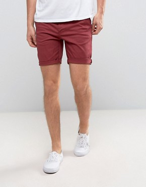ASOS Slim Chino Shorts In Berry