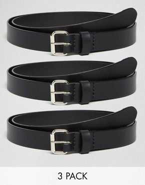 ASOS Smart Skinny Leather Belt 3 Pack SAVE 17%