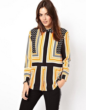 Image 1 ofASOS Shirt In Spot And Stripe Placement Print