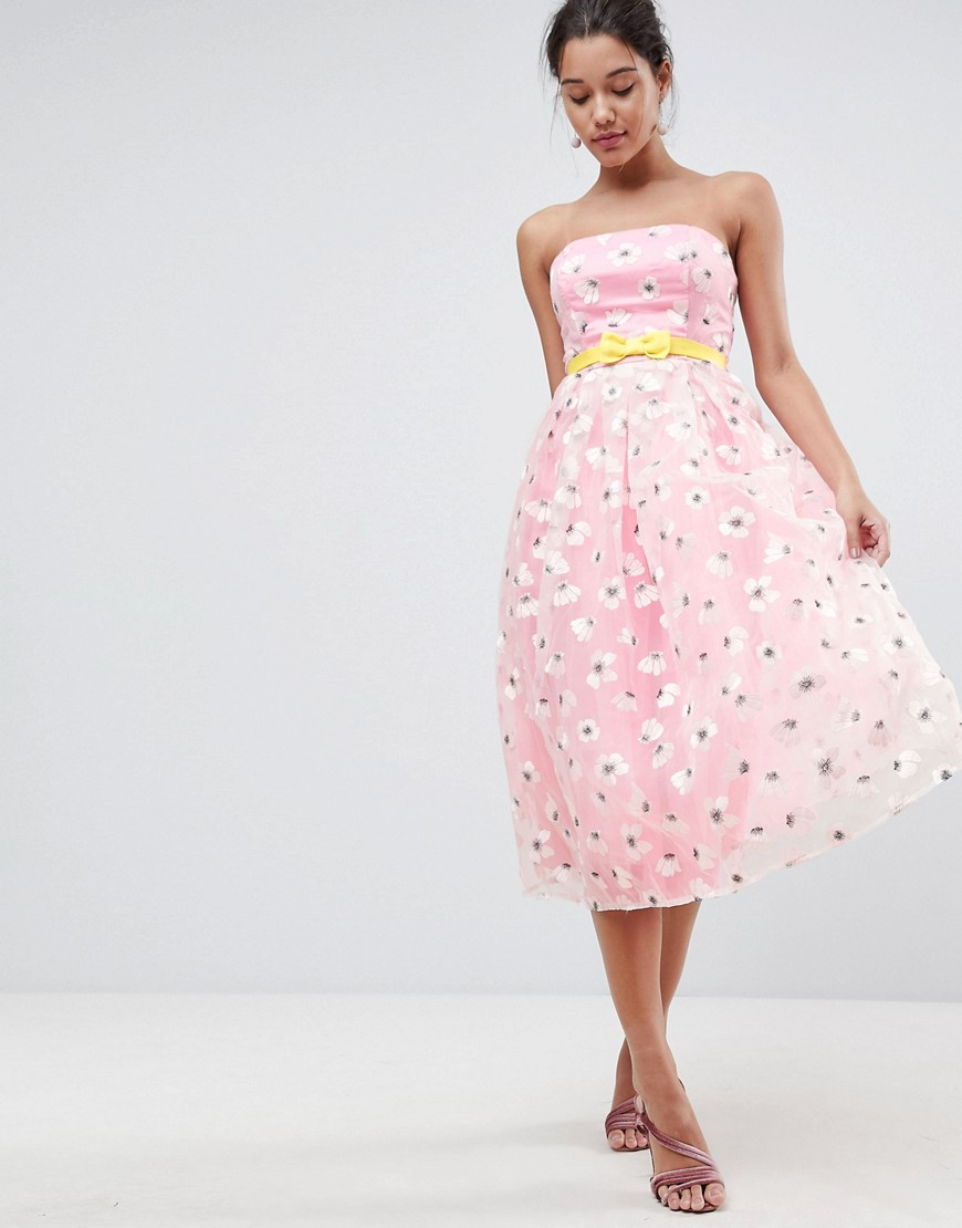 ASOS SALON Embroidered Organza Midi Prom with Bow Waist Detail - Pink