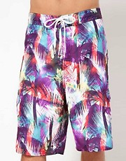 Wave Rock Neon Palm Board Shorts