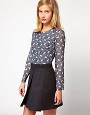 Paul and Joe Sister Smart Dress with Printed Blouse and Bow at Waist