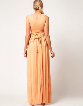 Image 2 ofASOS Exclusive Maternity Maxi Dress In Jersey With Grecian Drape Detail