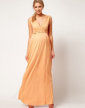 Image 4 ofASOS Exclusive Maternity Maxi Dress In Jersey With Grecian Drape Detail