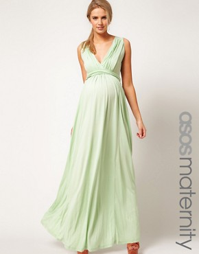 Image 1 ofASOS Exclusive Maternity Maxi Dress In Jersey With Grecian Drape Detail