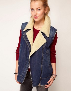 Image 1 ofDiesel Denim Gilet With Sheepskin Collar