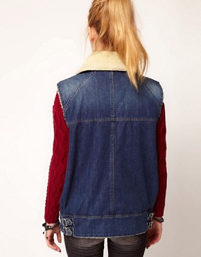 Image 2 ofDiesel Denim Gilet With Sheepskin Collar