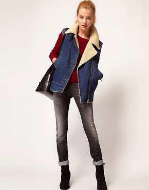 Image 4 ofDiesel Denim Gilet With Sheepskin Collar