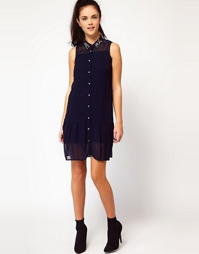 Image 4 ofRiver Island Jewel Drop Waist Shirt Dress