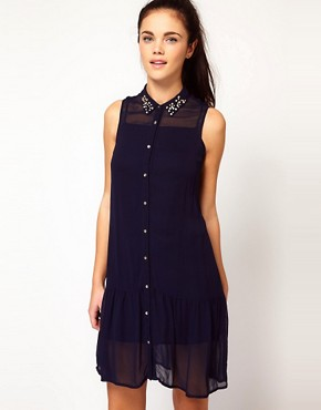 Image 1 ofRiver Island Jewel Drop Waist Shirt Dress
