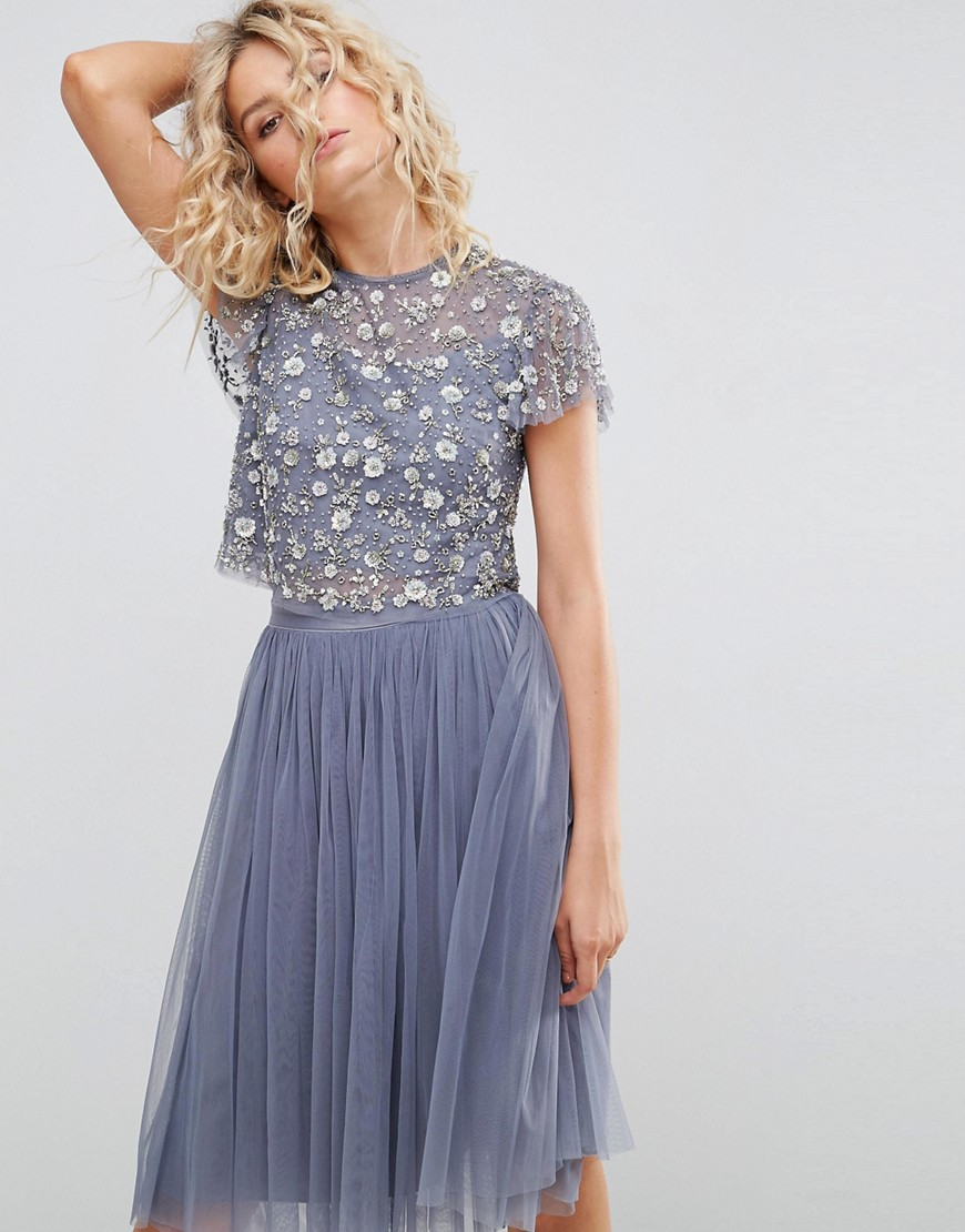 Needle and Thread Scattered Embellished Top - Vintage blue