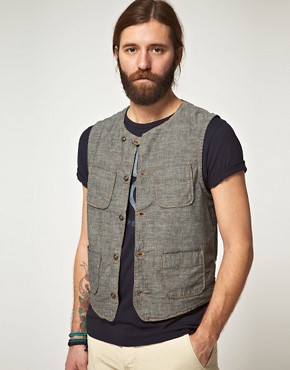Image 1 ofEdwin Black Chambray Rail Gilet