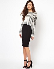 Warehouse Zip Back Textured Pencil Skirt