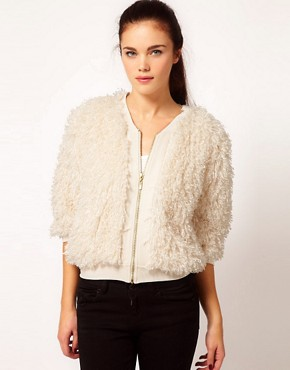 Image 1 ofRiver Island Chelsea Girl Faux Fur Bomber Jacket