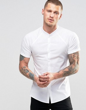 ASOS Skinny Shirt With Raglan Sleeves In White