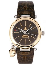 Vivienne Westwood Orb Brown and Gold Leather Strap Watch