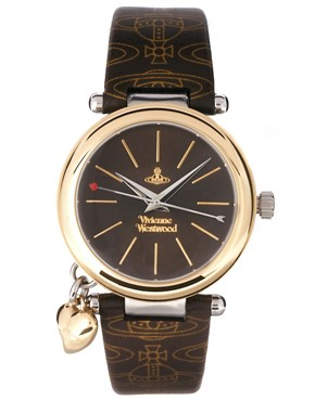 Image 1 ofVivienne Westwood Orb Brown and Gold Leather Strap Watch