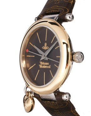 Image 3 ofVivienne Westwood Orb Brown and Gold Leather Strap Watch