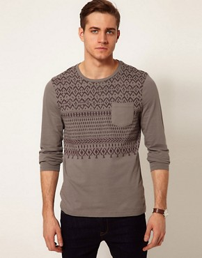Image 1 ofASOS Long Sleeve T-Shirt With Aztec Print And Contrast Pocket