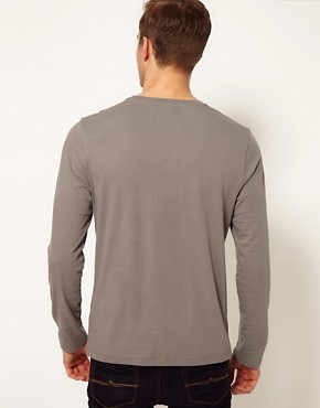 Image 2 ofASOS Long Sleeve T-Shirt With Aztec Print And Contrast Pocket