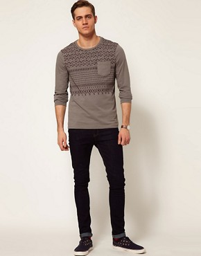 Image 4 ofASOS Long Sleeve T-Shirt With Aztec Print And Contrast Pocket